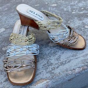 Selene Gold Silver Bronze Sandals
